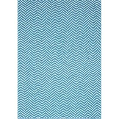 Natura Linzi Hand Woven Cotton Rug, 170x120cm, Chevron Blue