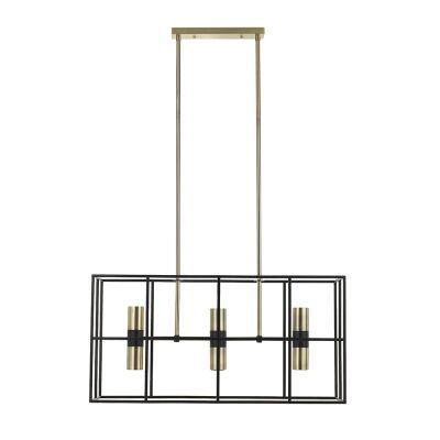 Nelson Metal Pendant Light, 6 Light, Black / Antique Brass