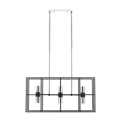 Nelson Metal Pendant Light, 6 Light, Black / Chrome