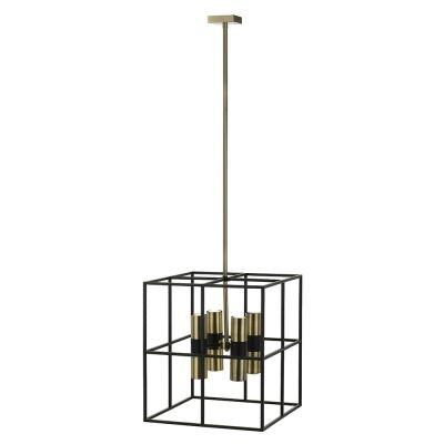 Nelson Metal Pendant Light, 8 Light, Black / Antique Brass