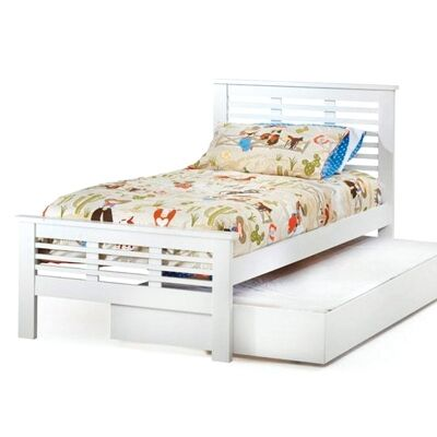 Nikki Solid New Zealand Pine Timber Single Bed with Trundle - White