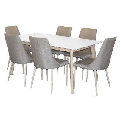 Otta 7 Piece Square Dining Table Set, with Kingsley Fabric Chair, 160cm