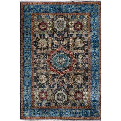 One of A Kind Aya Hand Knotted Wool Afghan Mamluk  Rug, 300x203cm, Blue / Yellow