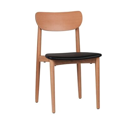 Nordic Commercial Grade Solid Timber Dining Chair with PU Seat, Natural / Black