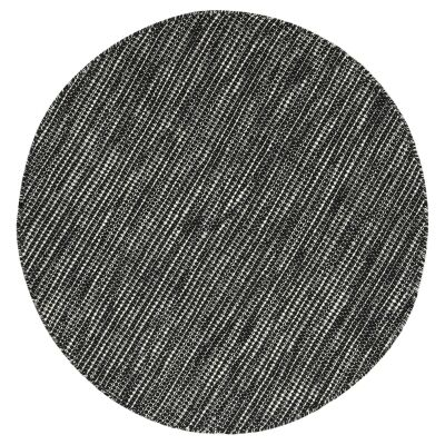 Scandi Reversible Wool Round Rug, 150cm, Black / White