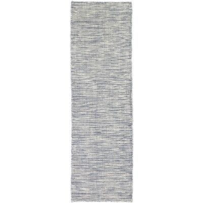 Scandi Reversible Wool Runner Rug, 80x400cm, Blue