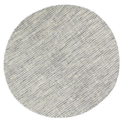 Scandi Reversible Wool Round Rug, 200cm, Grey
