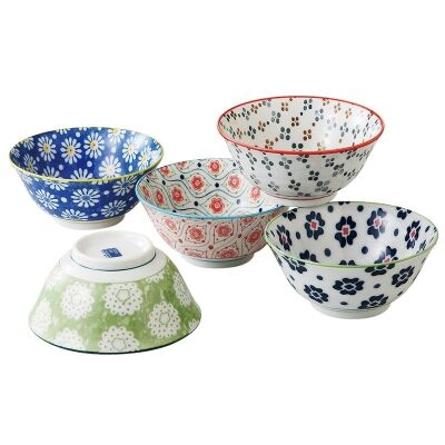 Mino Japan Table Talk 5 Piece 15cm Bowl Set
