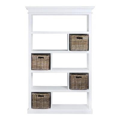 Scotia Solid Mahogany Timber 4 Rattan Baskets Display Shelf / Room Divider