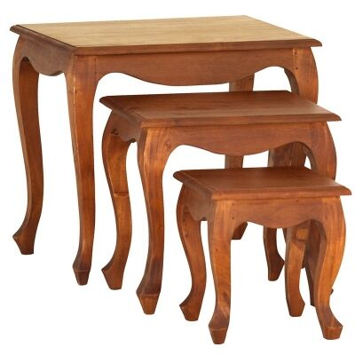 Queen Ann 3 Piece Solid Mahogany Timber Nested Table Set, Light Pecan