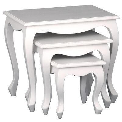 Queen Ann 3 Piece Solid Mahogany Timber Nested Table Set, White