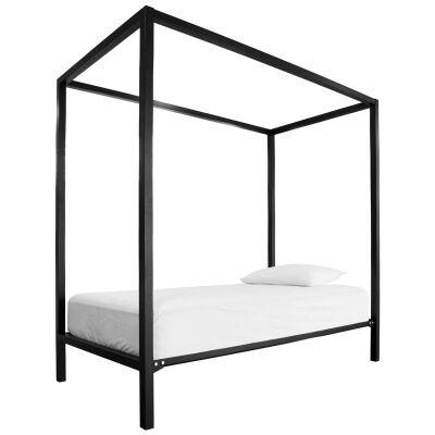 Tubeco Nusa Australian Made Metal Bed, Double, Gloss Black
