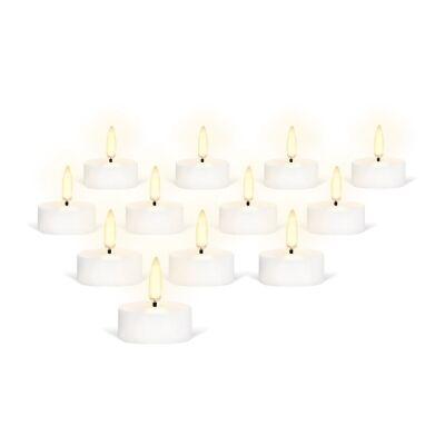 Uyuni Remote Enabled LED Flameless Tealight, Set of 12, Nordic White