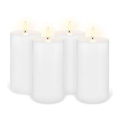 Uyuni Remote Enabled LED Wax Flameless Pillar Candle, Set of 4, Medium, Nordic White