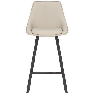 Nemo Commercial Grade Faux Leather High Back Kitchen Stool, Light Grey