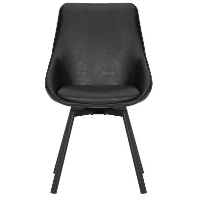 Nemo Commercial Grade Faux Leather Swivel Dining Chair, Vintage Black