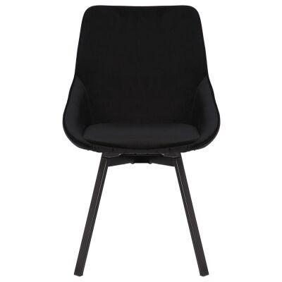 Nemo Commercial Grade Velvet Fabric Swivel Dining Chair, Black