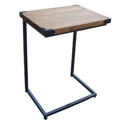 Henley Timber Top Metal Frame Laptop Side Table