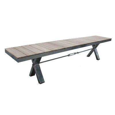 Lerryn 220cm Metal Dining Bench with Teak Slat Seat