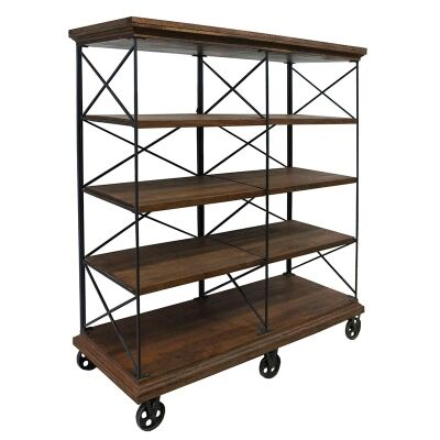 Escot Industrial Timber Top Metal Frame Display Shelf with Castors