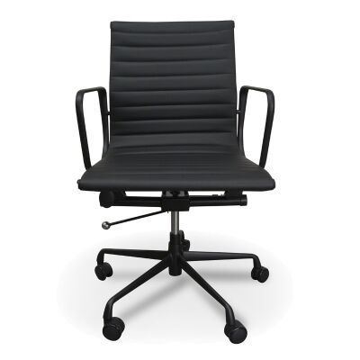 Replica Eames PU Leather Management Chair, Mid Back, Black