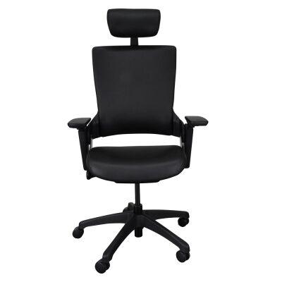 Merna PU Leather Ergonomic Office Chair with Head Rest, Black