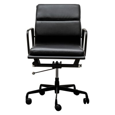 Replica Eames PU Leather Soft Pad Office Chair, Mid Back, Black