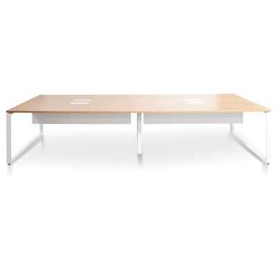 Lacasa Back-to-Back Workstation Desk, 4 Seats, 360cm, Natural / White