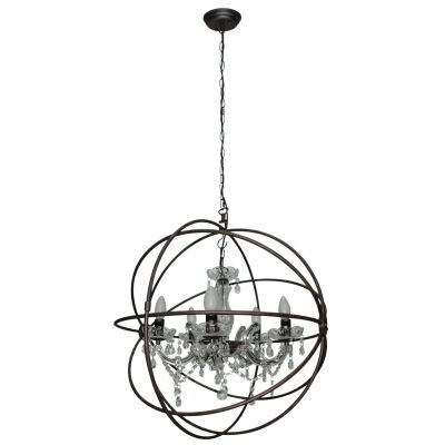 Columbus III Metal Wire Open Spherical Pendant Light with Crystal