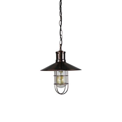 Vernon Caged Metal Pendant Light, Antique Copper