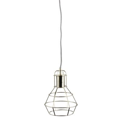 Work Metal Wire Pendant Light, Brushed Chrome