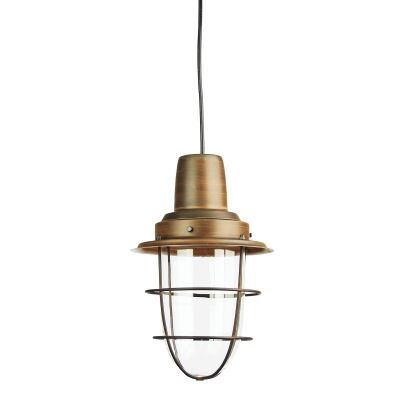 Flint Glass & Metal Pendant Light, Bronze