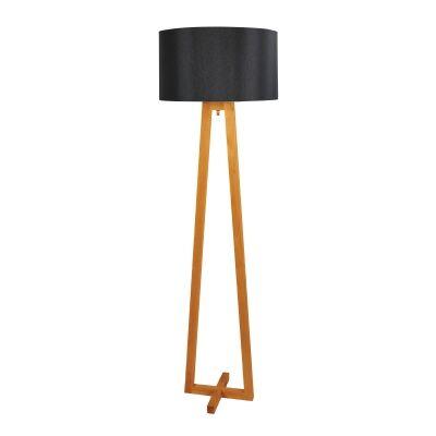 Edar Scandi Timber Base Floor Lamp, Black Shade