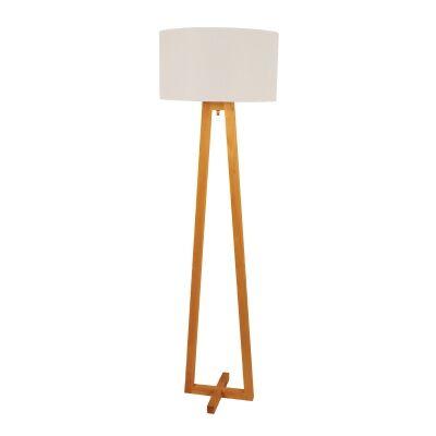 Edar Scandi Timber Base Floor Lamp, White Shade