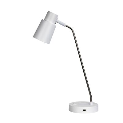 Rik Metak Desk lamp with USB Port, White / Chrome