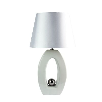 Sax Ceramic Complete Table Lamp - White and Silver (Oriel Lighting)