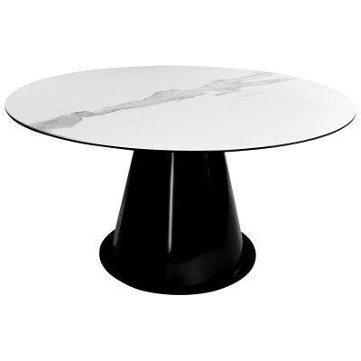 Marcos Ceramic Top Round Dining Table, 150cm