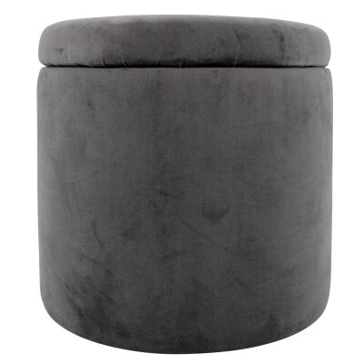 Lyss Velvet Fabric Round Storage Ottoman, Grey