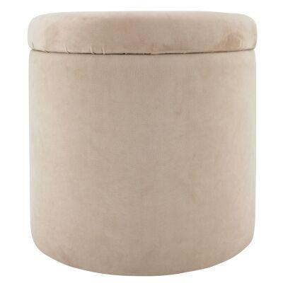 Lyss Velvet Fabric Round Storage Ottoman, Blush