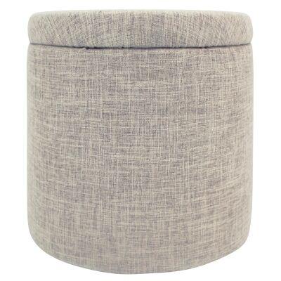 Lyss Linen Fabric Round Storage Ottoman