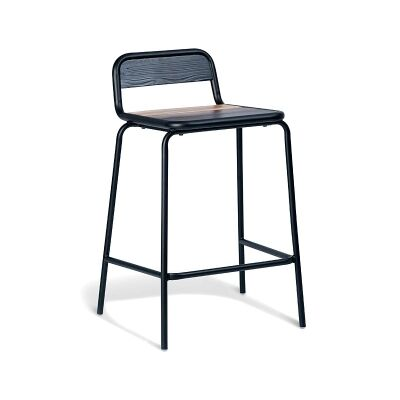 Oppa Commercial Grade Stackable Metal Counter Stool with Timber Seat, Black