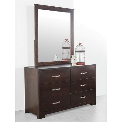 Montana Solid Pine Dresser with Mirror in Chocolate