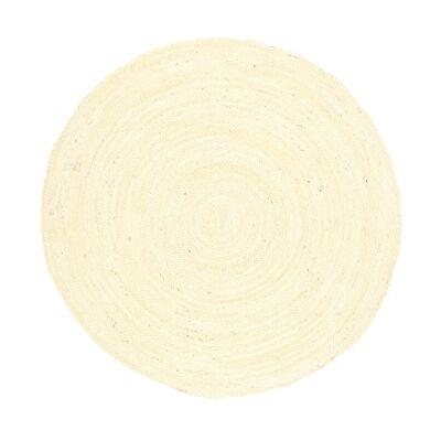Organica Reversible Jute Round Rug, 150cm, Bleached