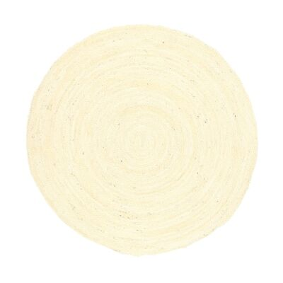 Organica Reversible Jute Round Rug, 240cm, Bleached