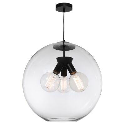 Orpheus Glass Pendant Light, 3 Light, Clear / Black