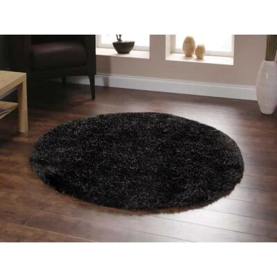 Plush Luxury Round Shag Rug in Chocolate - 120x120cm
