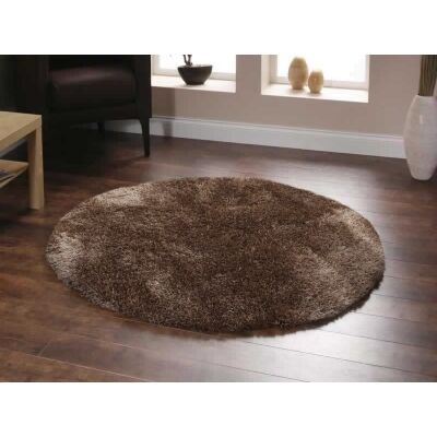 Plush Luxury Round Shag Rug in Latte - 120x120cm