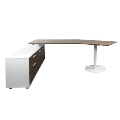 Fiat Executive Office Desk with Left Return, 252cm, Walnut / White