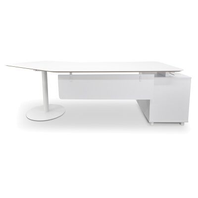 Fiat Executive Office Desk with Left Return, 252cm, White
