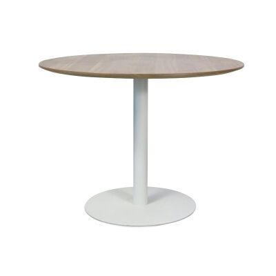 Rozzano Round Office Meeting Table, 100cm, Walnut / White